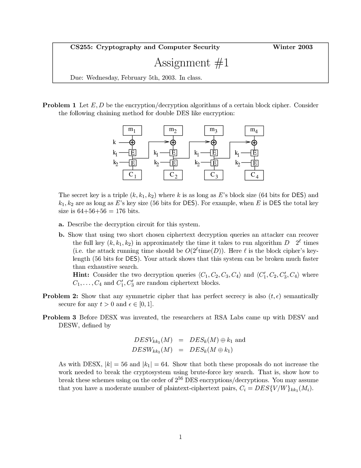Hw1 - Cryptography Difficult Questions - English –I FC005