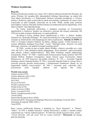Szymborska Wisława Literatura Współczesna Uwm Studocu