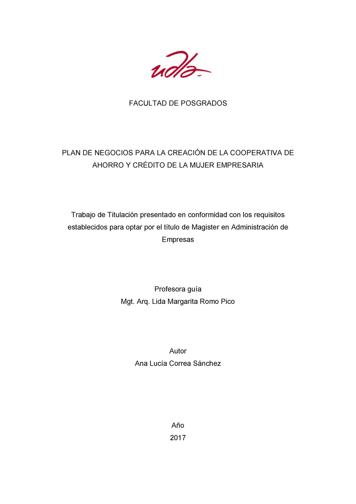 Tesis Udla Ec Tmaef 2017 06 Cooperativa De Credito Y Ahorro