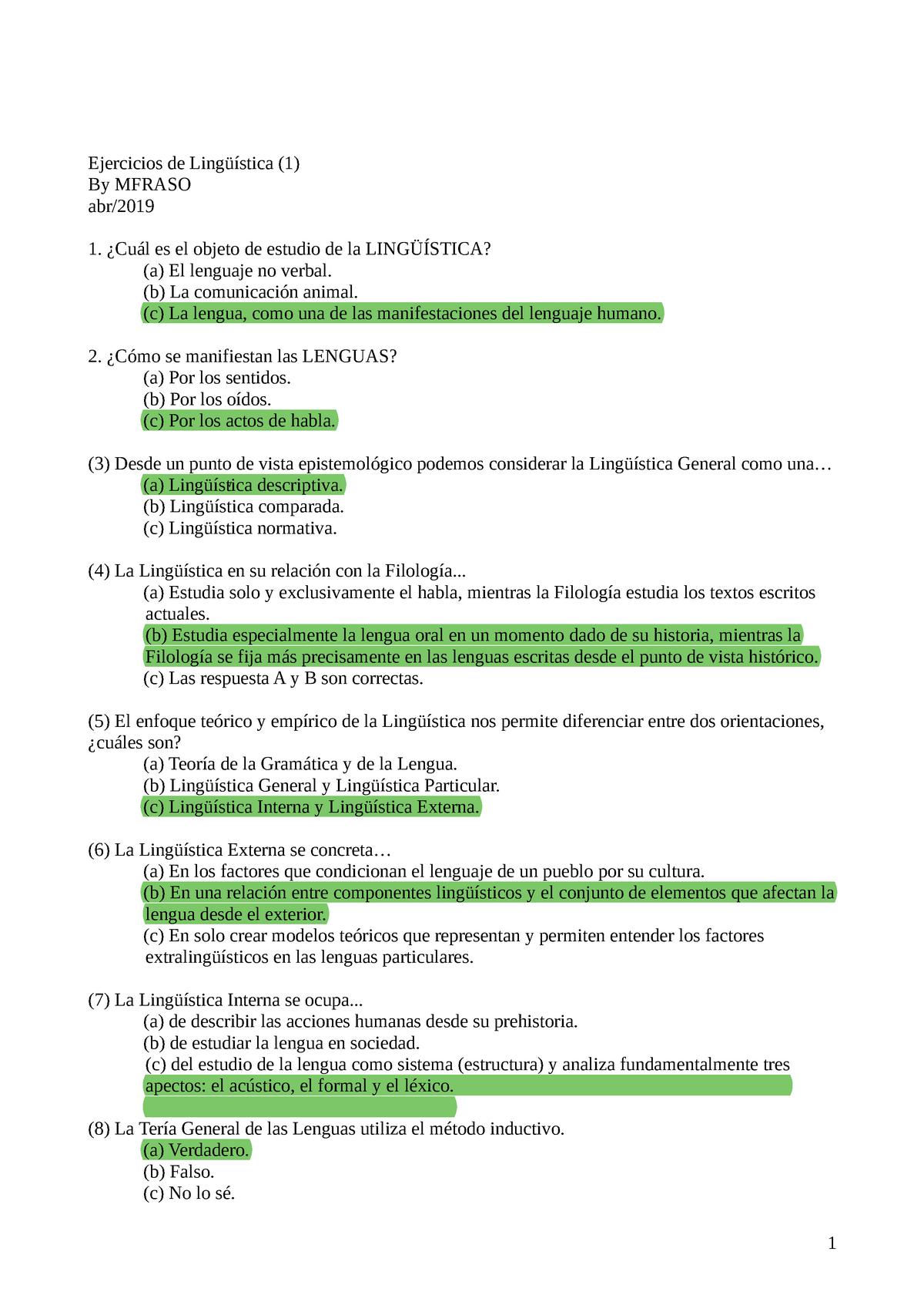 Ejercicios L 1 Lengua Española Lingüística Uma Studocu
