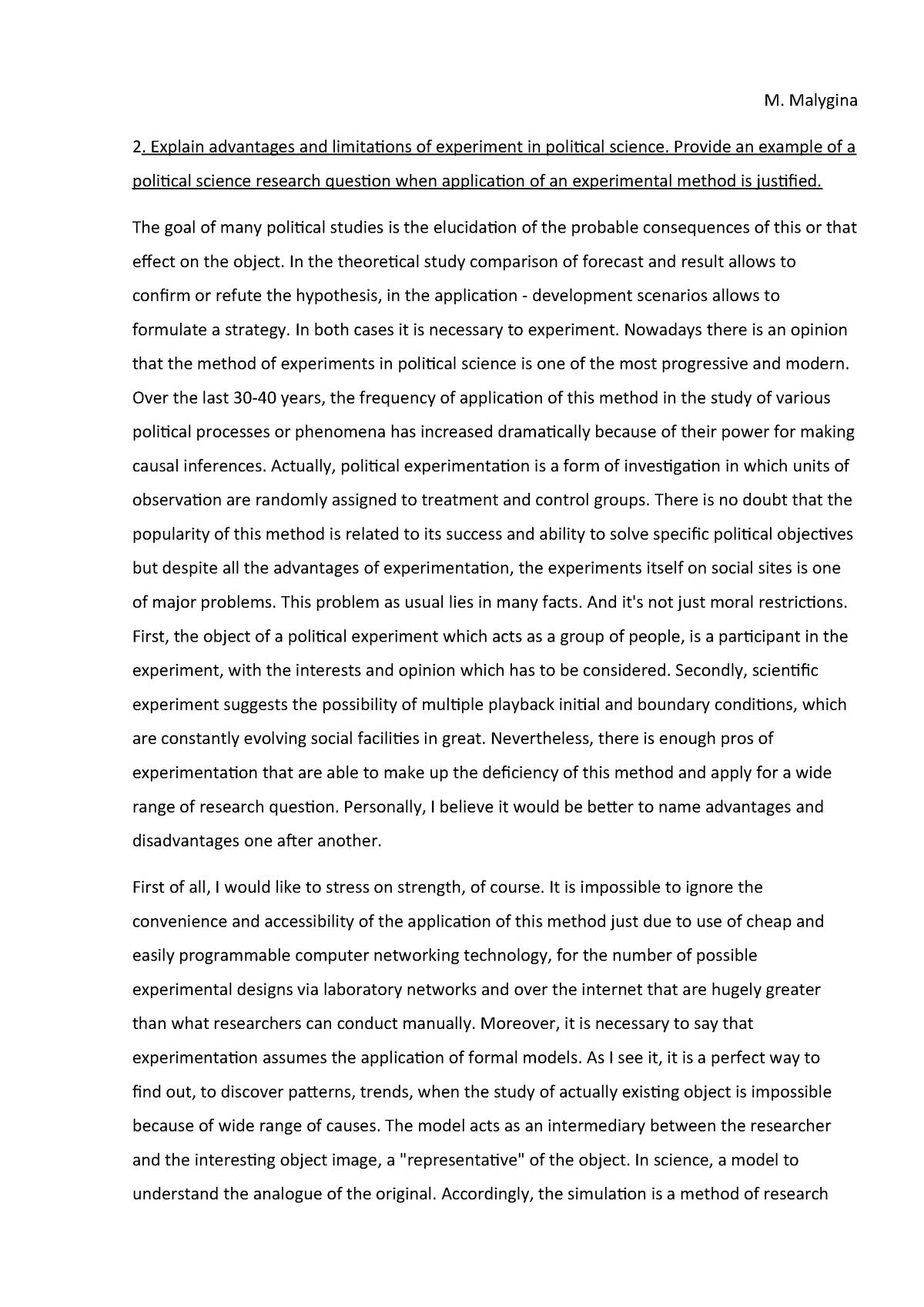 Essay - Explain advantages and limitations of experiment in