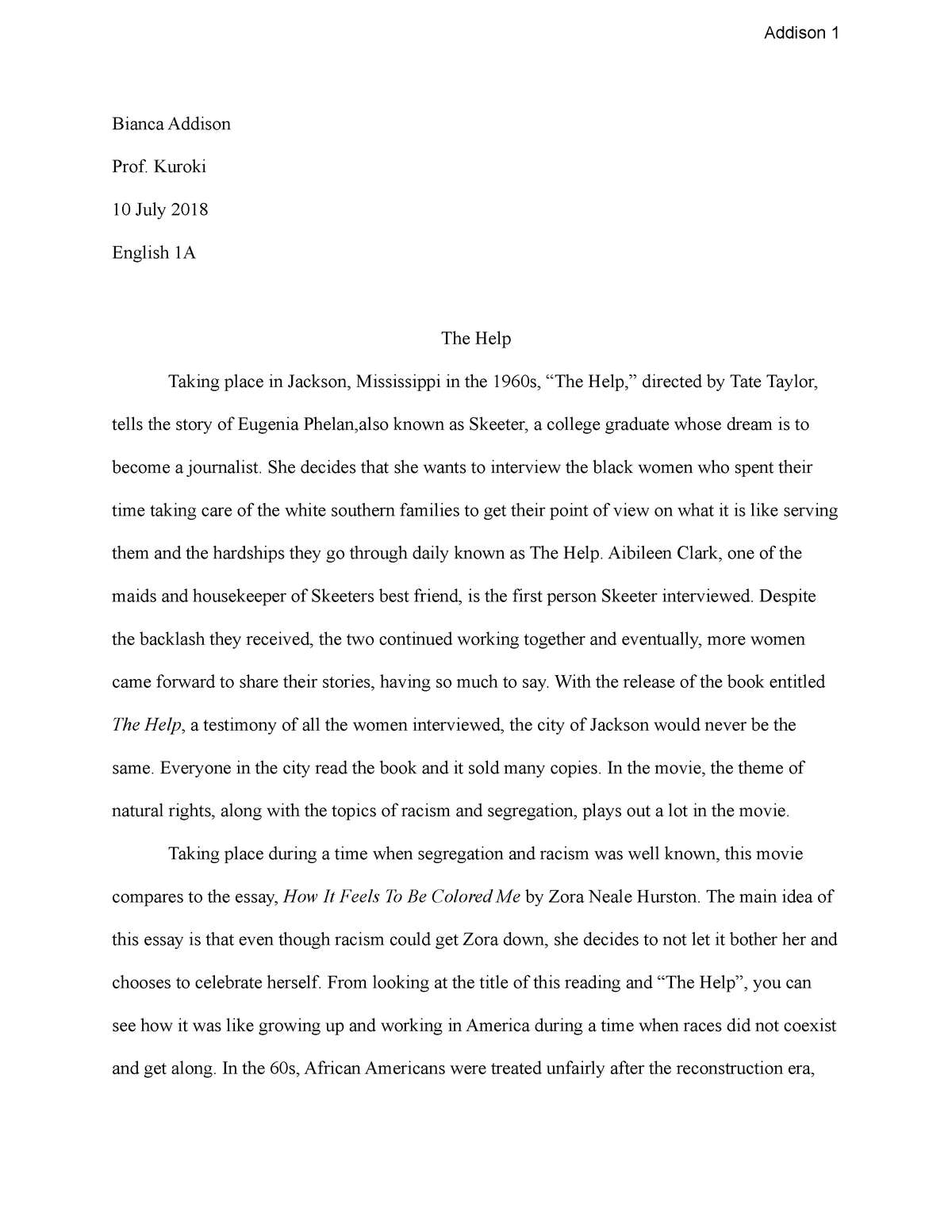 The Help Essay