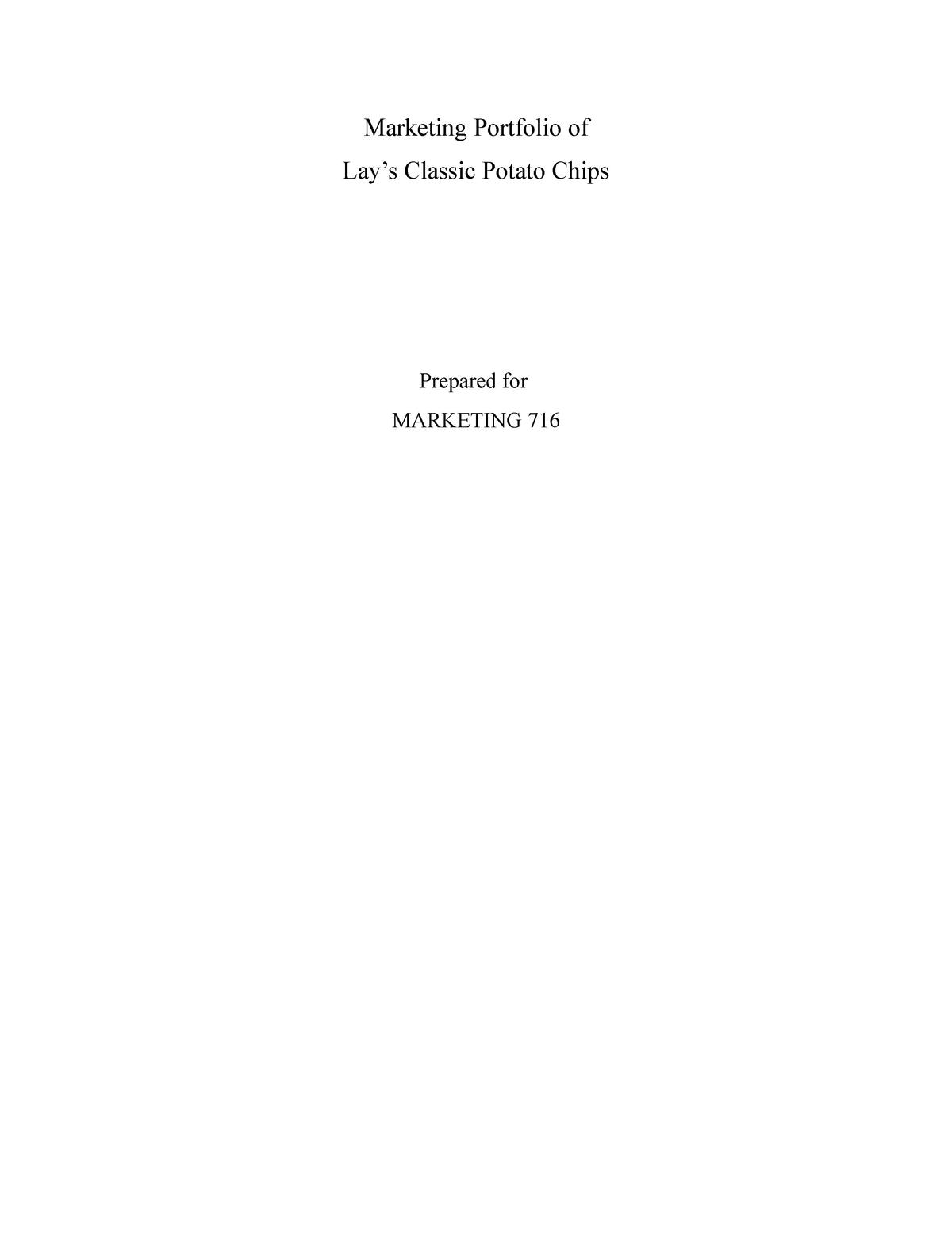 Marketing portfolio of Lays chips - MKTG716: Marketing - StuDocu