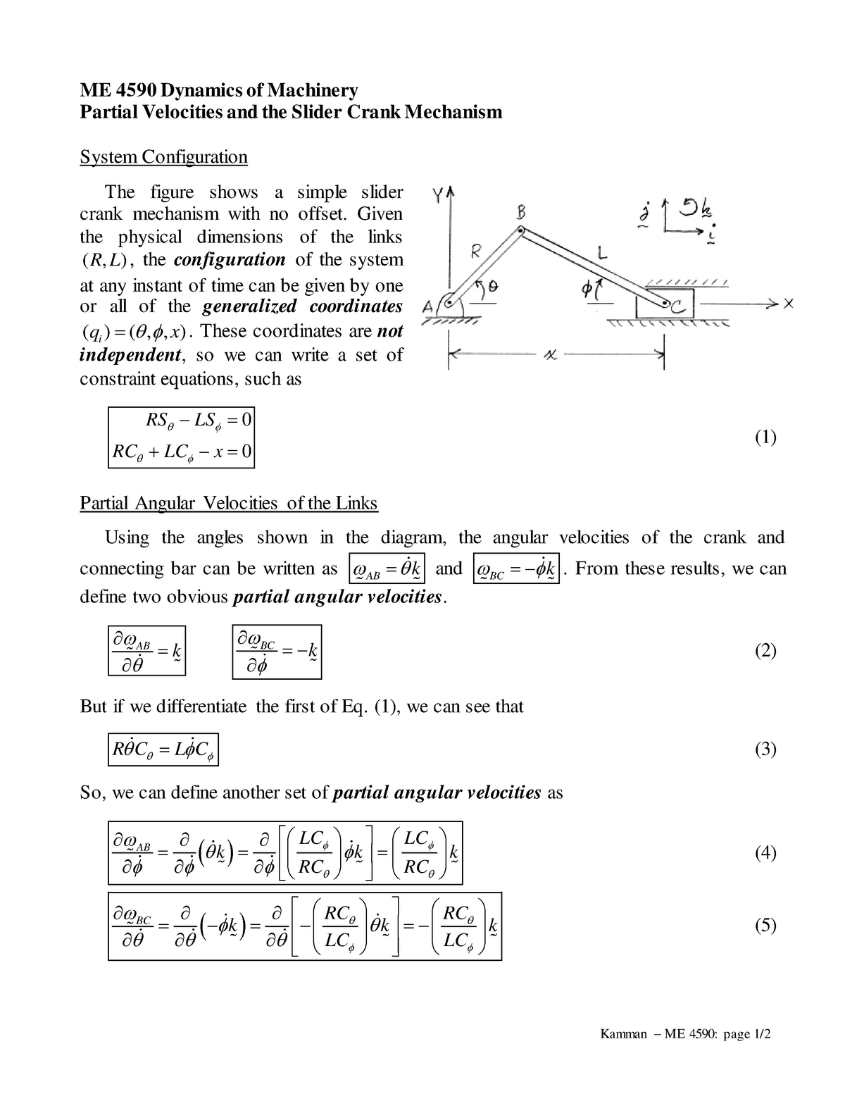 ME459Partial Velocities Slider Crank - ME 4590: Dynamics Of