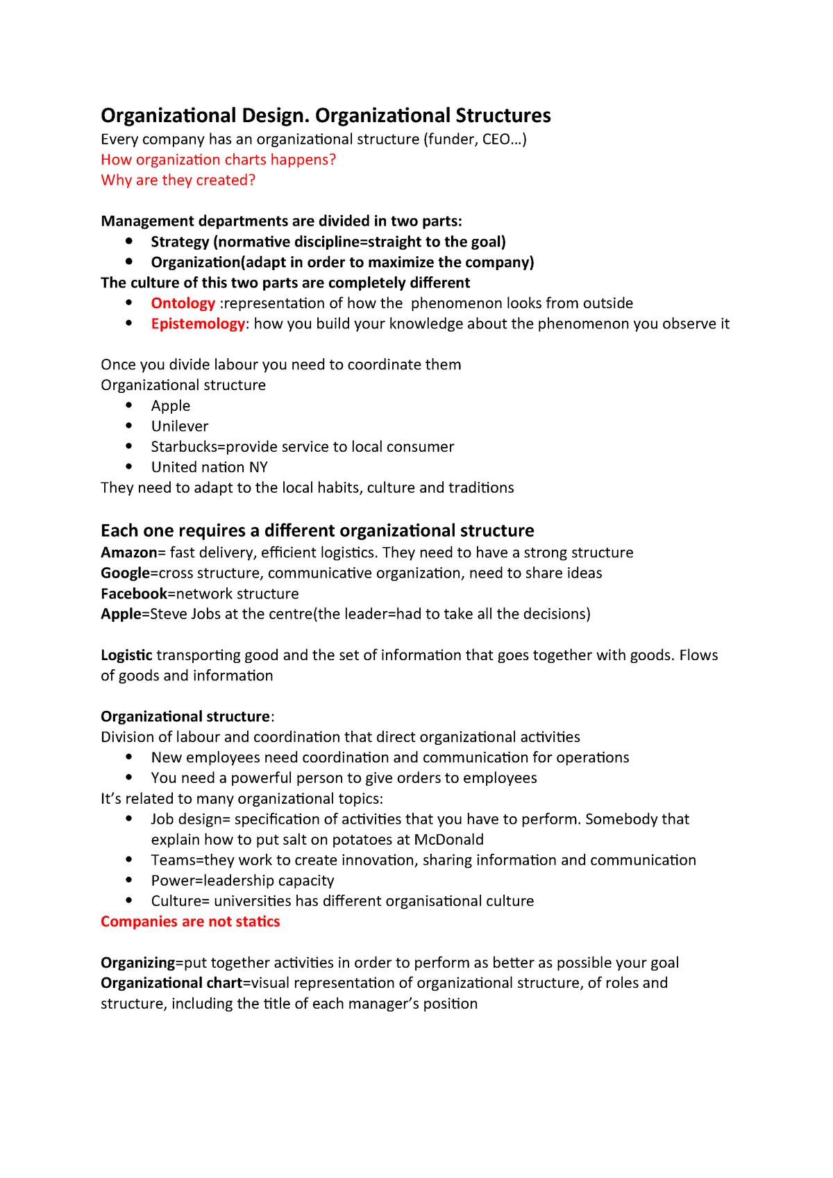 Organizational Design - Management - StuDocu