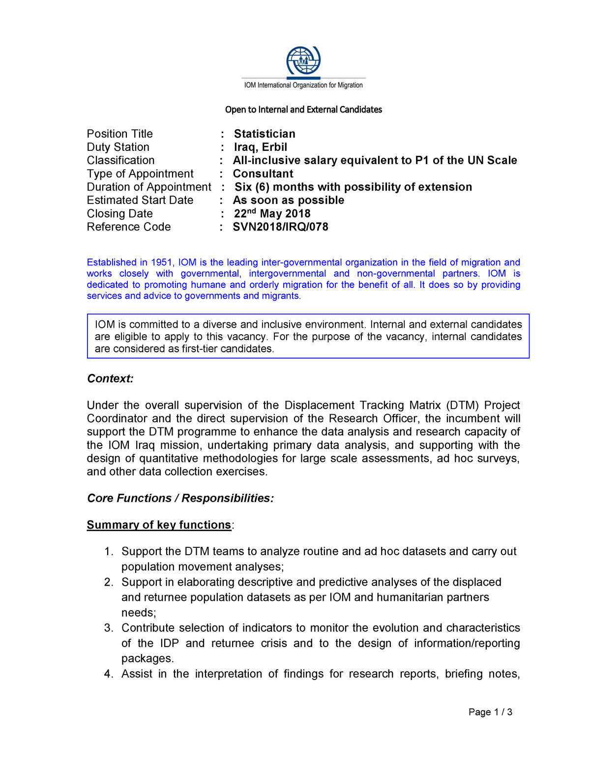 SVN-IRQ-078 - Statistician - CJS 102: Individuals Society And