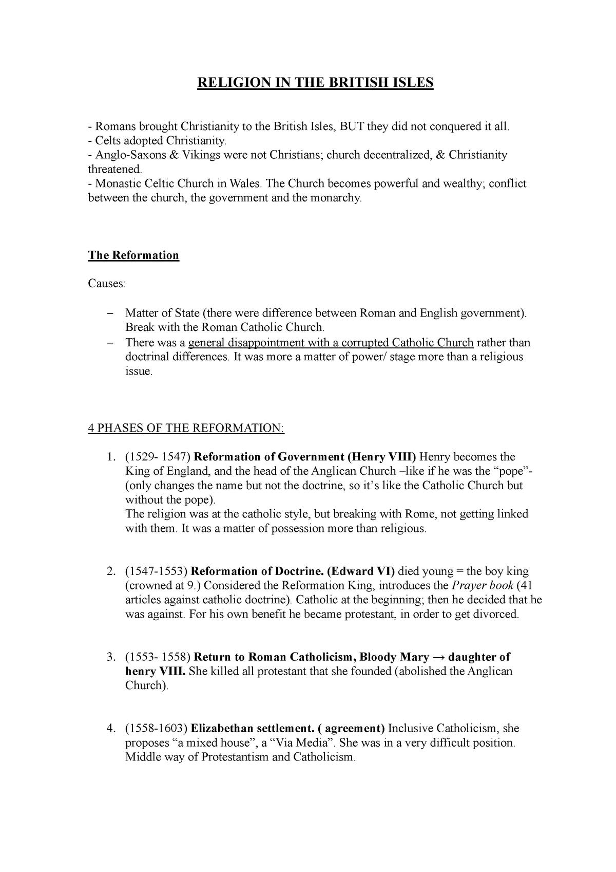 RELIGION IN THE BRITISH ISLES - Història i Cultures de les