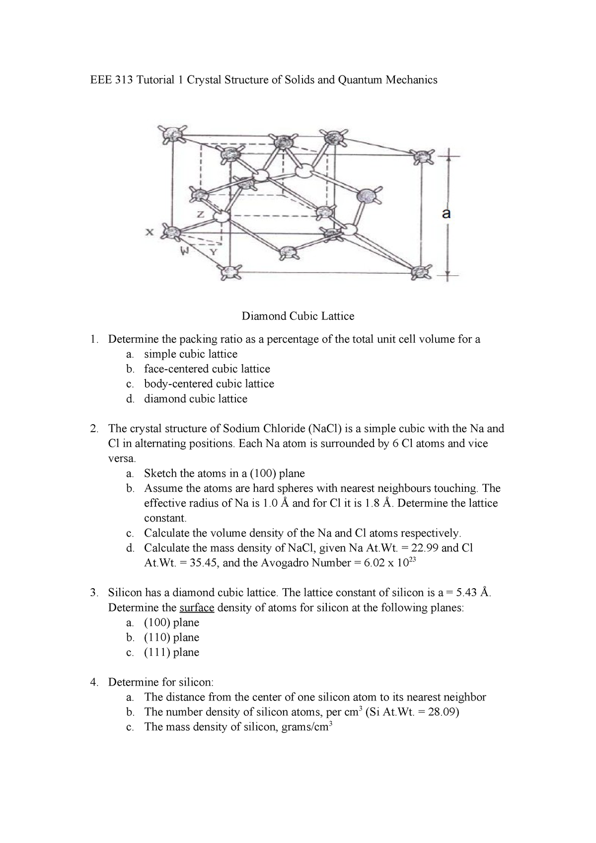 EEE 313 Tutorial 1 - Semiconductor Physics EEE313 - StuDocu
