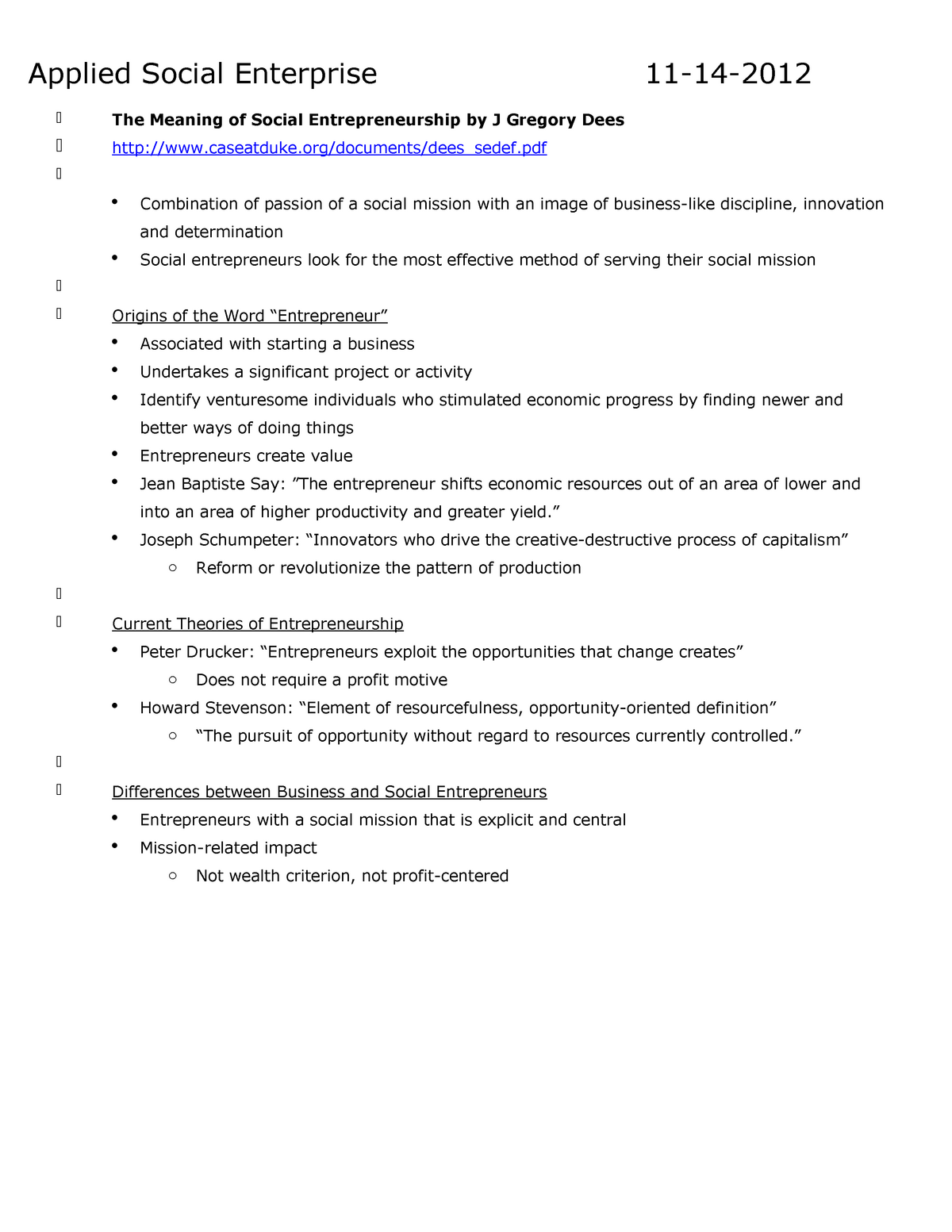 Class 21 11 15 - Notes (Applied Social Enterprise) - COMM