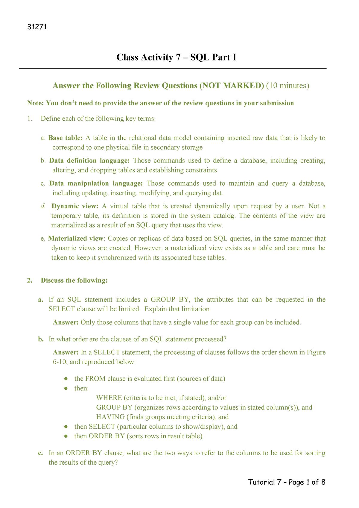 Solution-Class Activity 7 - 031271 : Database Fundamentals