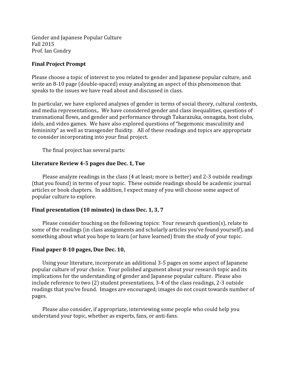 Final Project Prompt Seminar assignments - WGS 154J - MIT