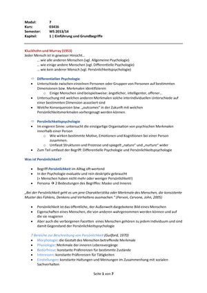Zusammenfassung Einführung in die Differentielle Psychologie und ...