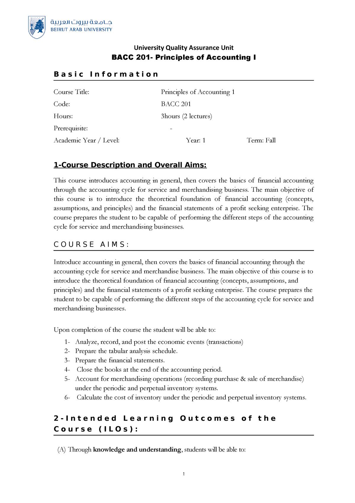 BACC 201-Course specification - BMTH201: Business Math - StuDocu
