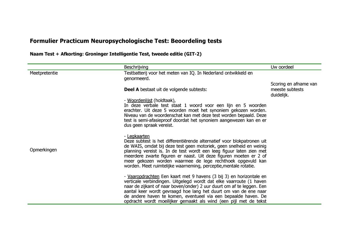 Formulier Practicum Neuropsychologische Test Beoordeling