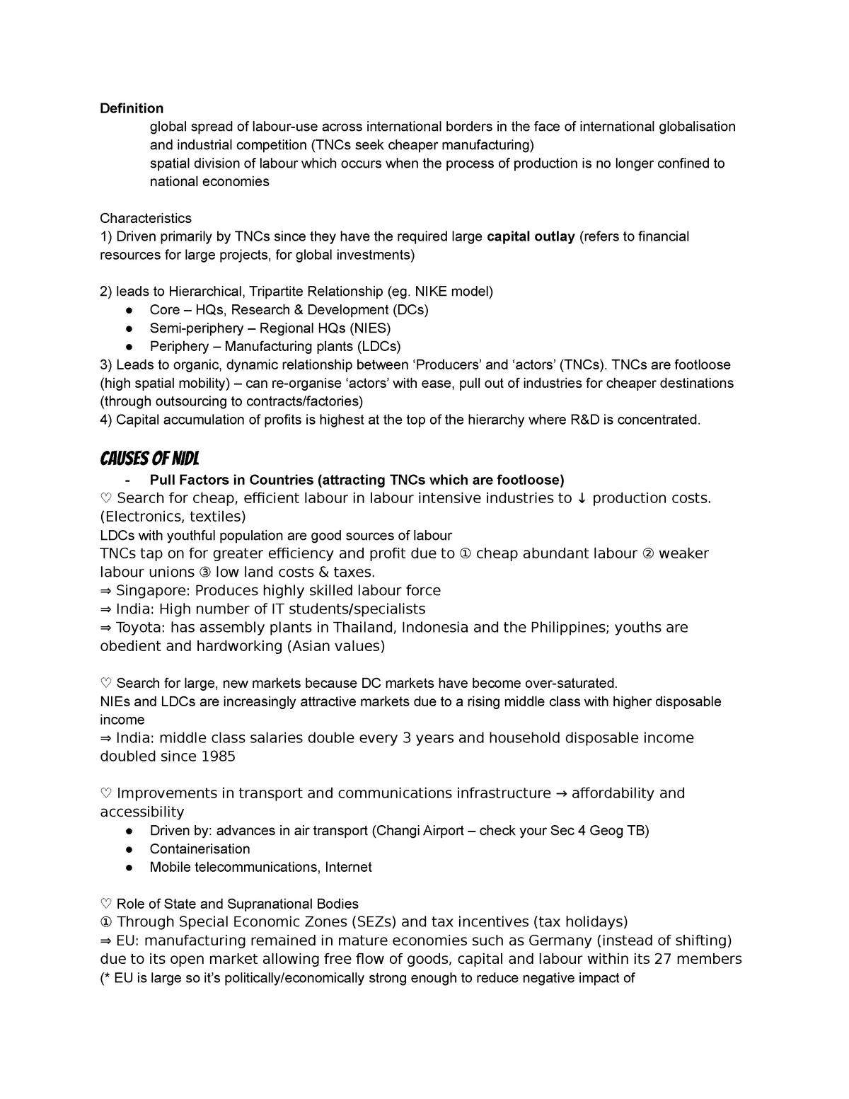 NIDL Summary - Space and Place - StuDocu