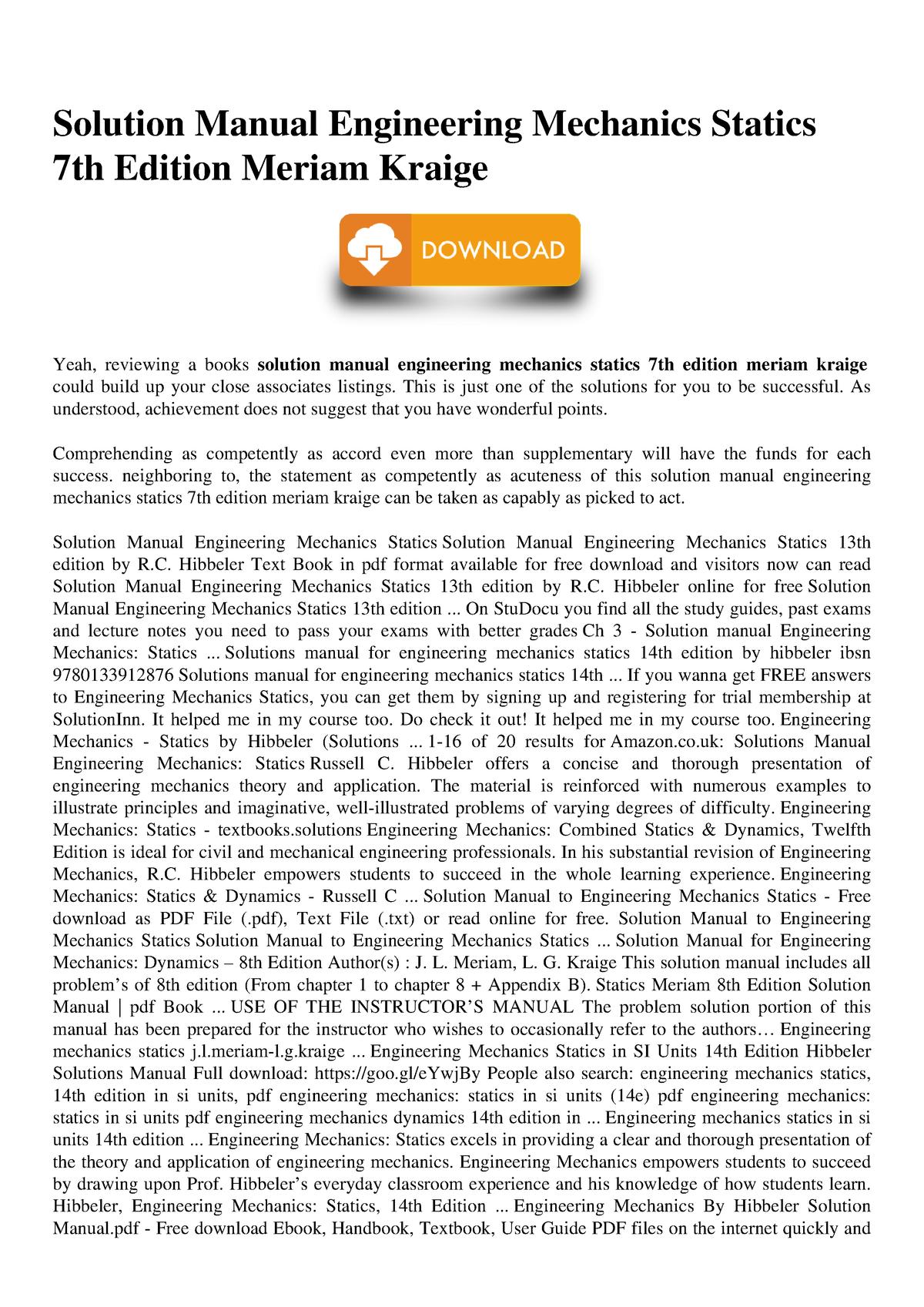 Solution Manual Engineering Mechanics Statics 7th Edition