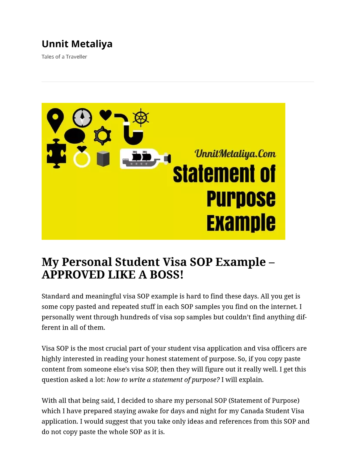 My Personal Student Visa SOP Example - Approved LIKE A BOSS