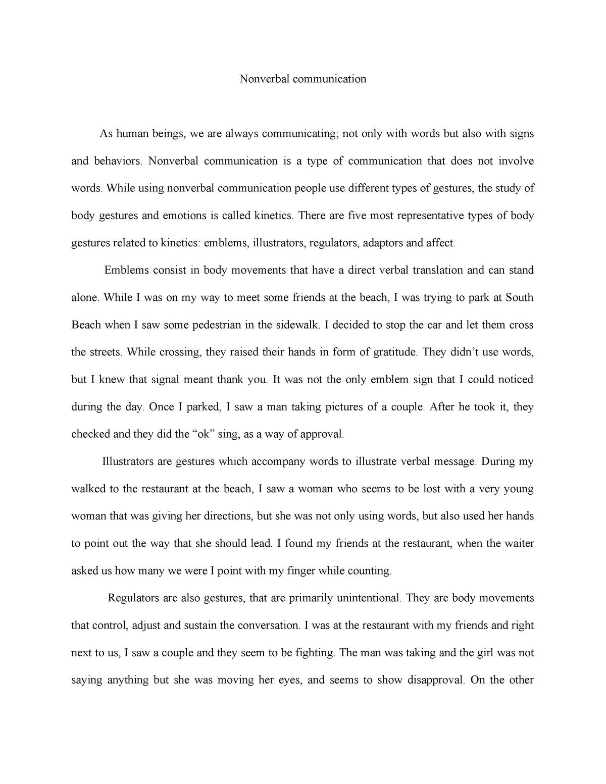fieldwork essay kinesics