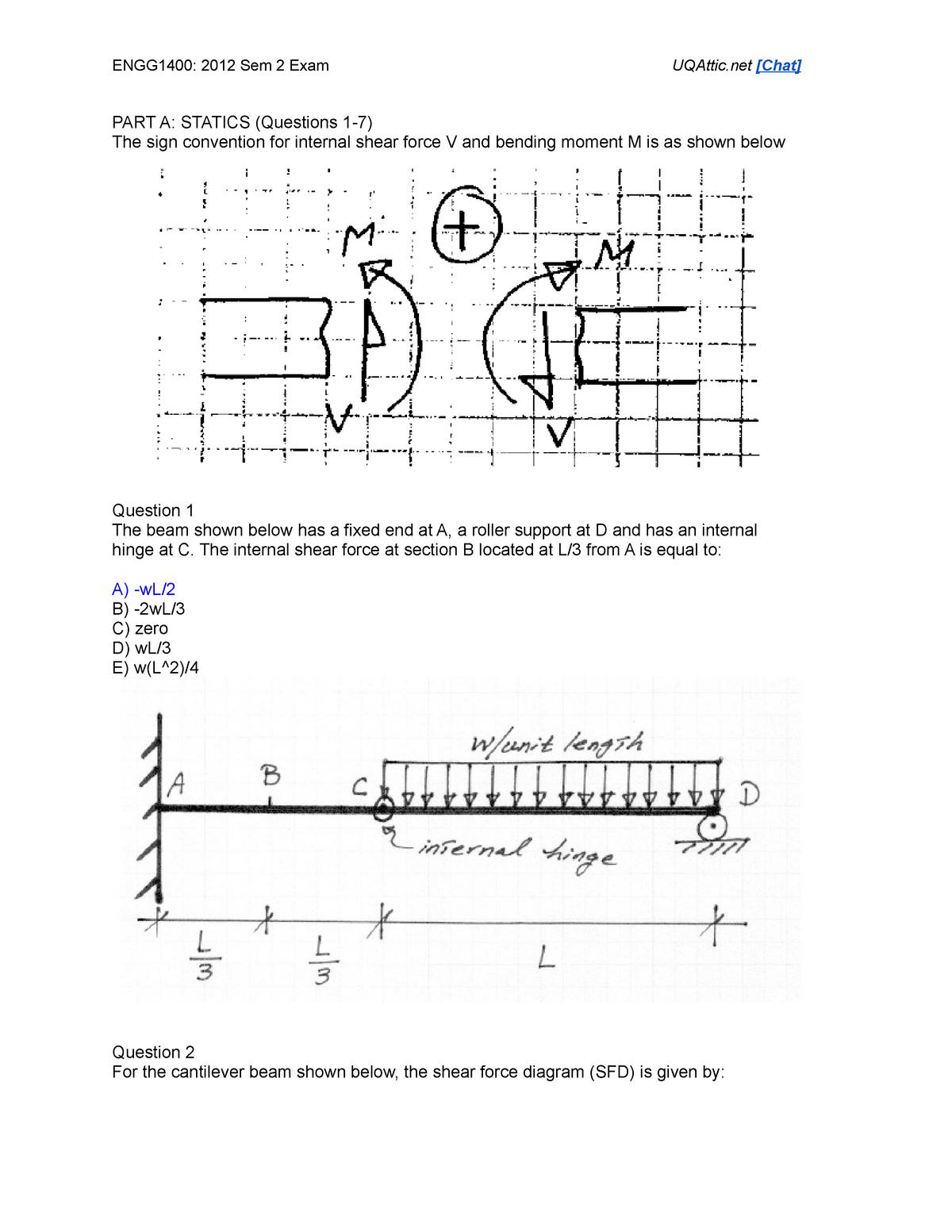 Exam 2012 - ENGG1400: Engineering Mechanics: Statics