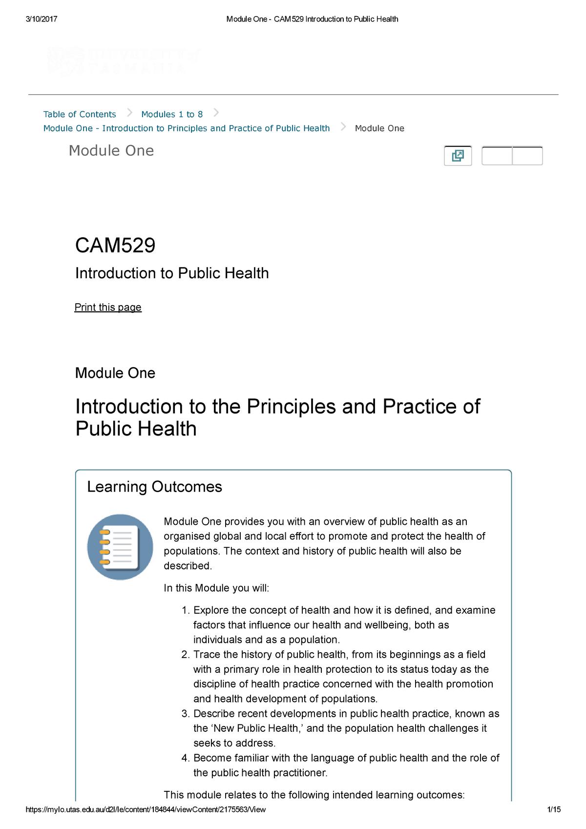 Introduction to Public Health-module one - CAM529 - UTAS