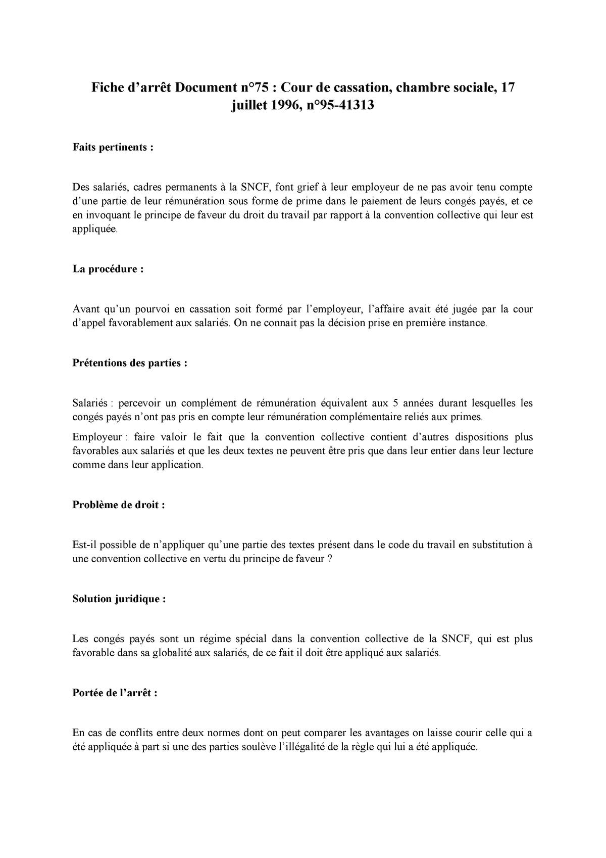Fiche D Arret Document 75 Droit Social Studocu