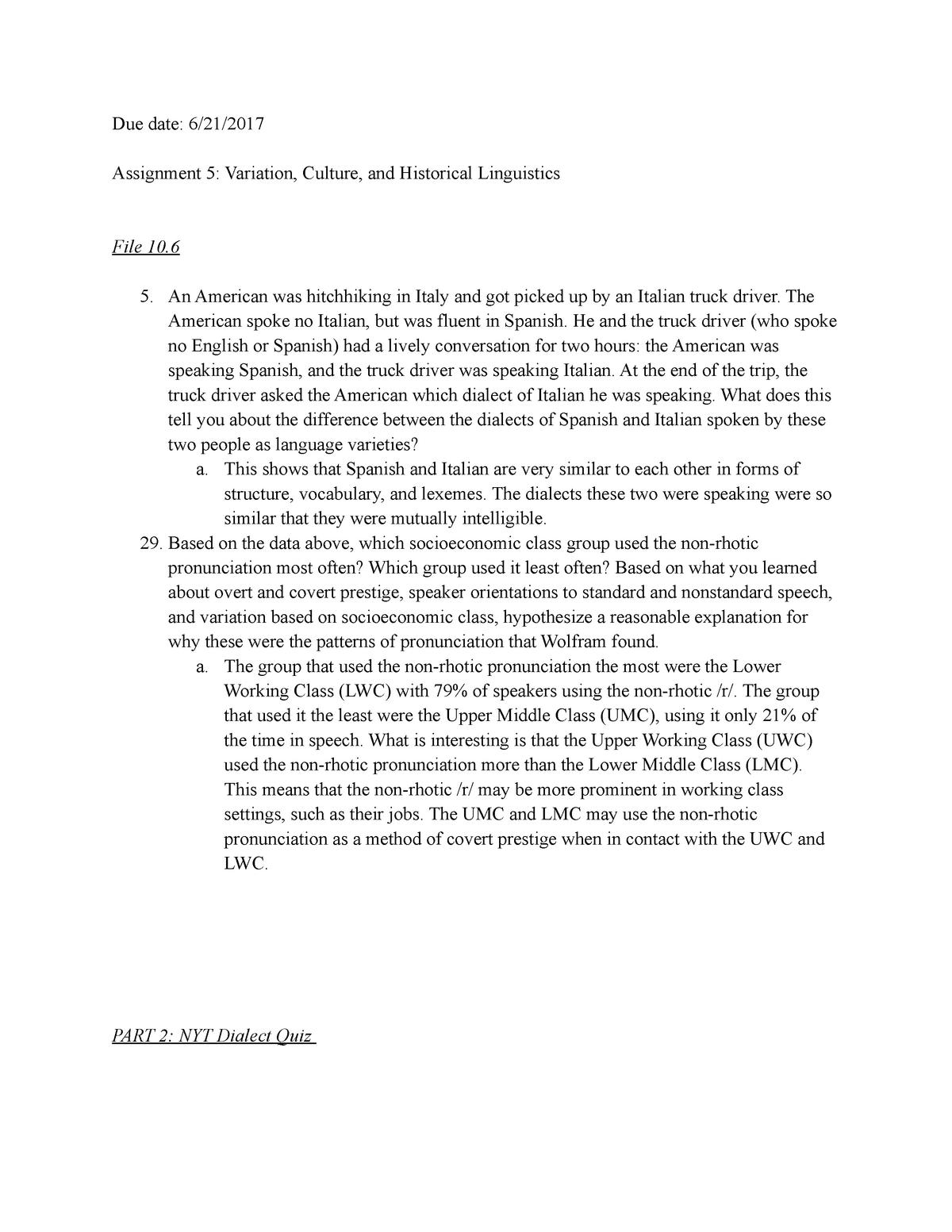 Assignment 5: Variation, Culture, and Historical Linguistics