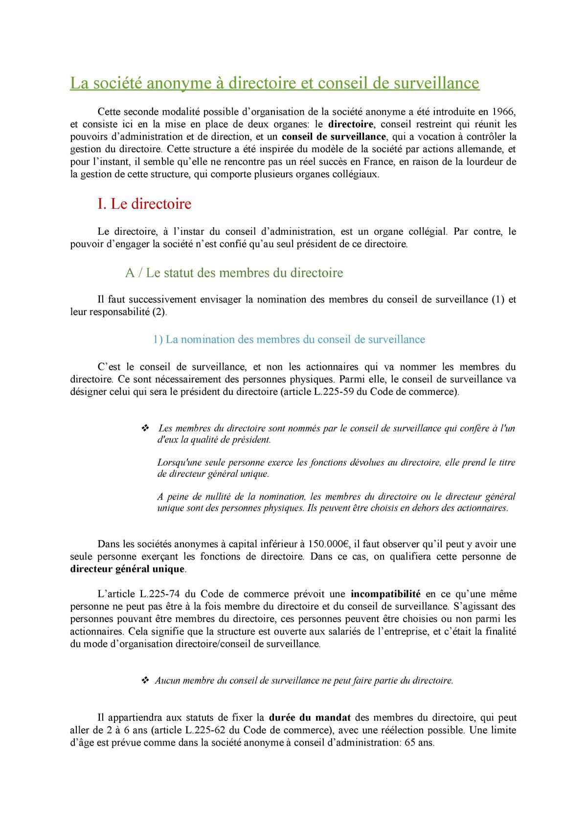 buy online shoes for cheap limited guantity La société anonyme à directoire et conseil de surveillance ...
