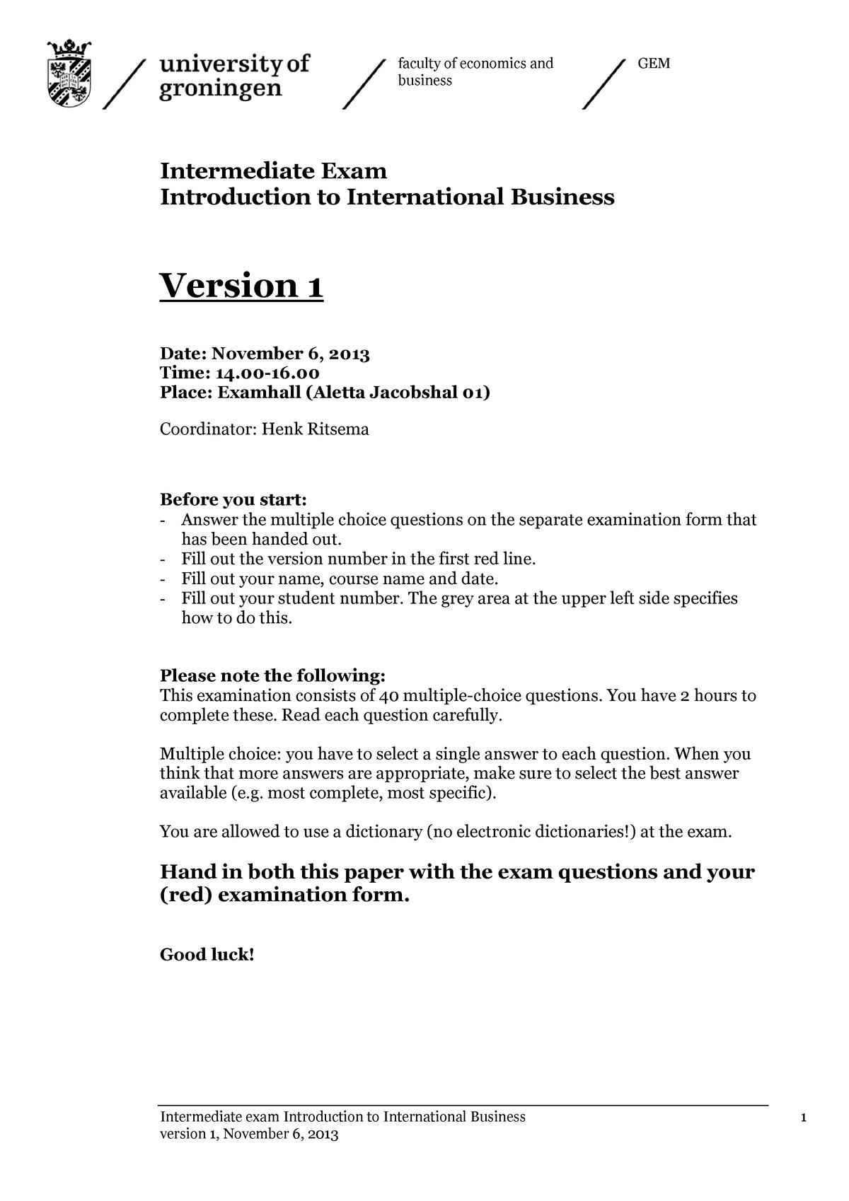 Tentamen 2013 - EBP003A05: Introduction to International Business