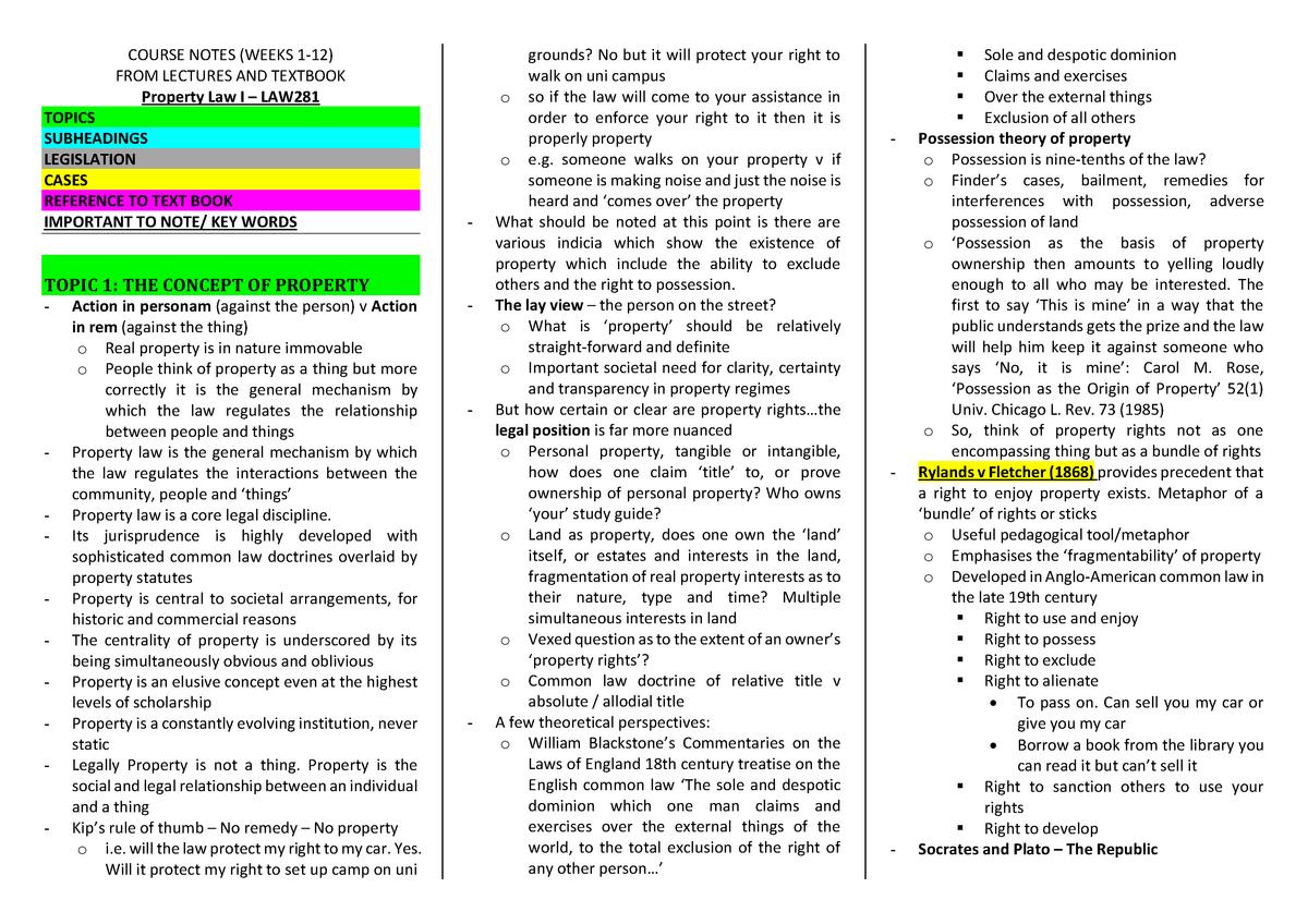 LAW281 Property Law I Notes - LAW281: Property Law I - StuDocu