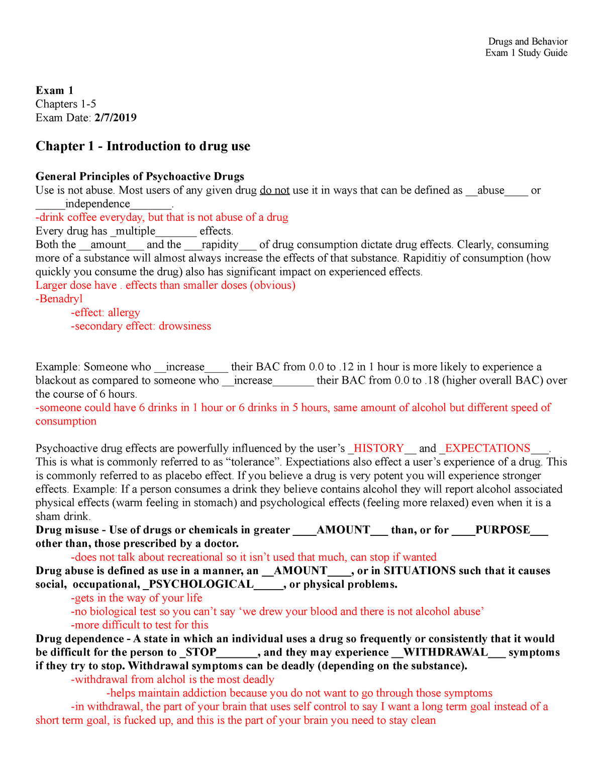 Study Guide Exam 1 Spring 2019 - PSYC 41364: Drugs and Behavior
