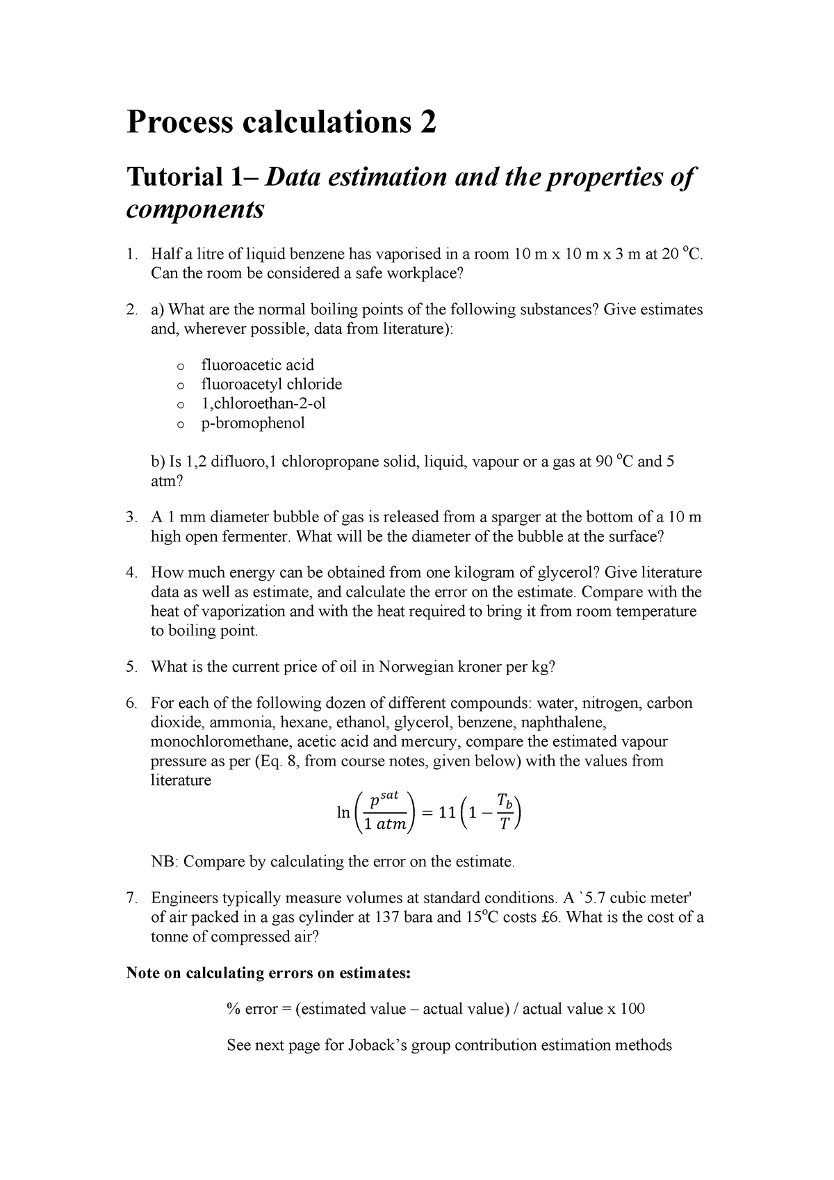 Process Calculations 2 Tutorial Questions and Solutions