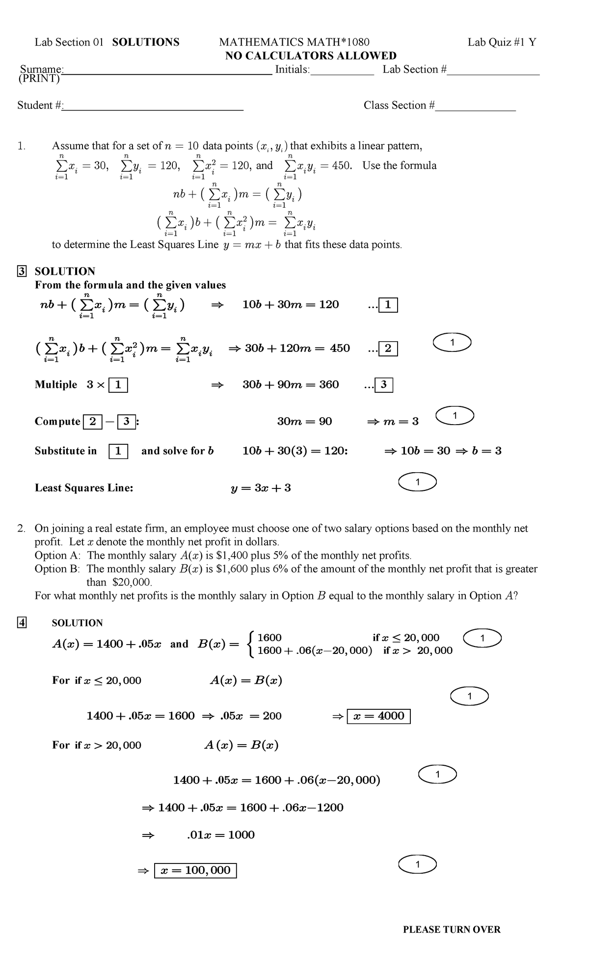 Math 1080 Lab Quiz One Solutions - MATH 1080: Elements of Calculus I