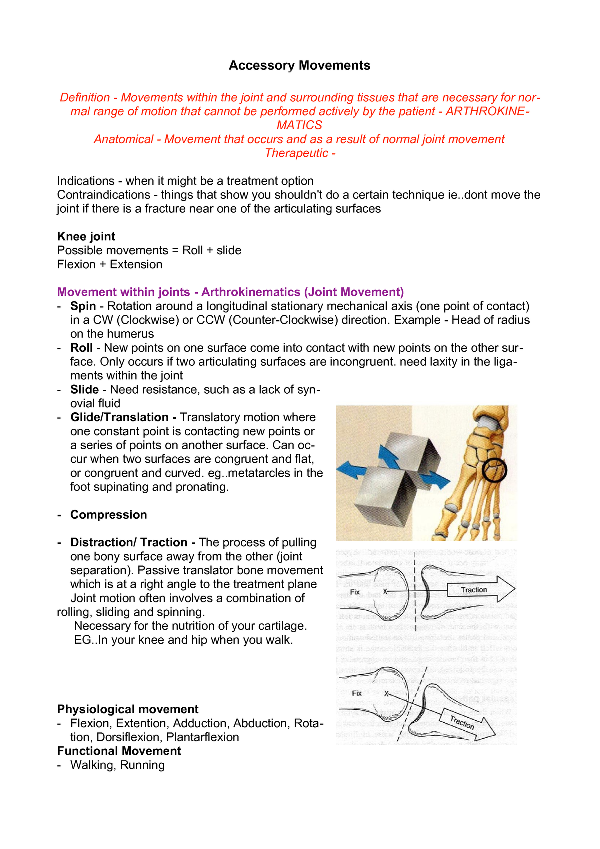 Accessory Movements 1 - B160: Physiotherapy - StuDocu