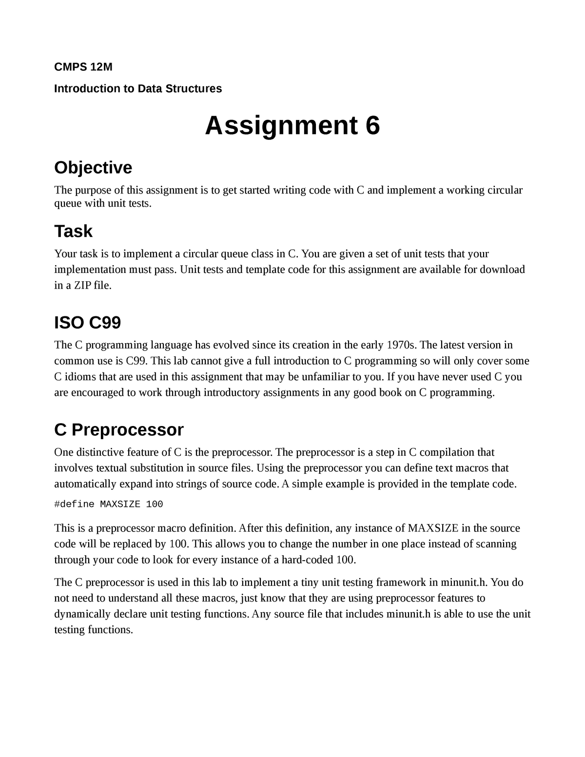Programming Assignment 6 - CMPS 12B: Introduction To Data