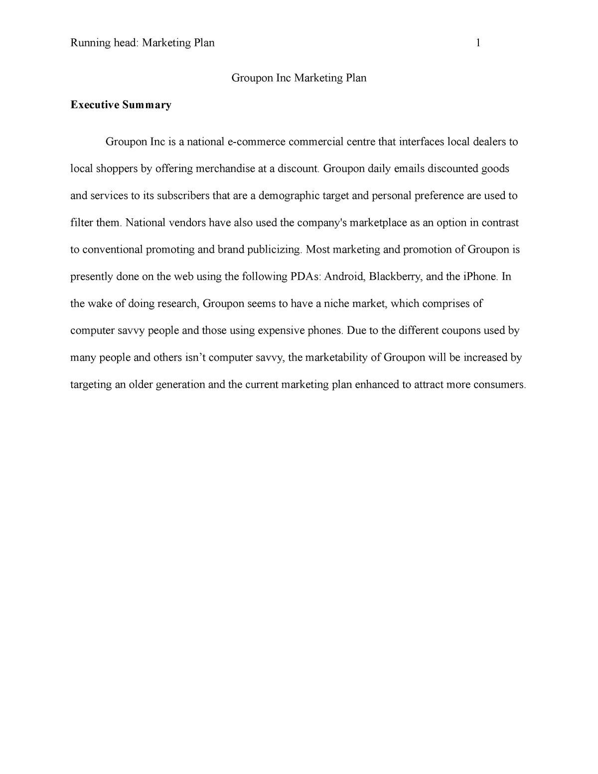 Marketing plan - MKT-607: Marketing Management - StuDocu