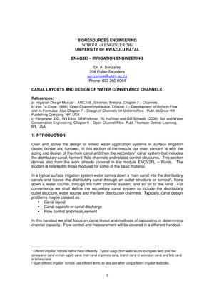L10 Handout Open Channel Flow Further Materials Agps301p1