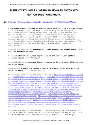 Elementary linear algebra 10th edition solutions scribd: software.