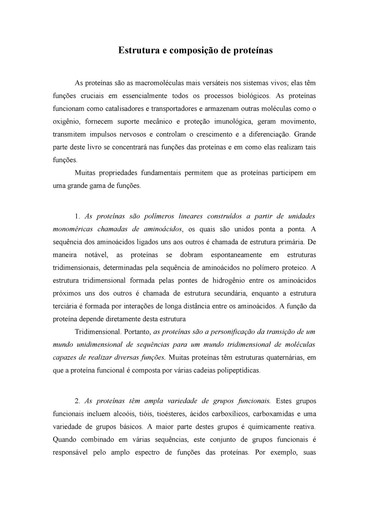 Estrutura E Composição De Proteínas 1 Ibrag05 12325 Uerj