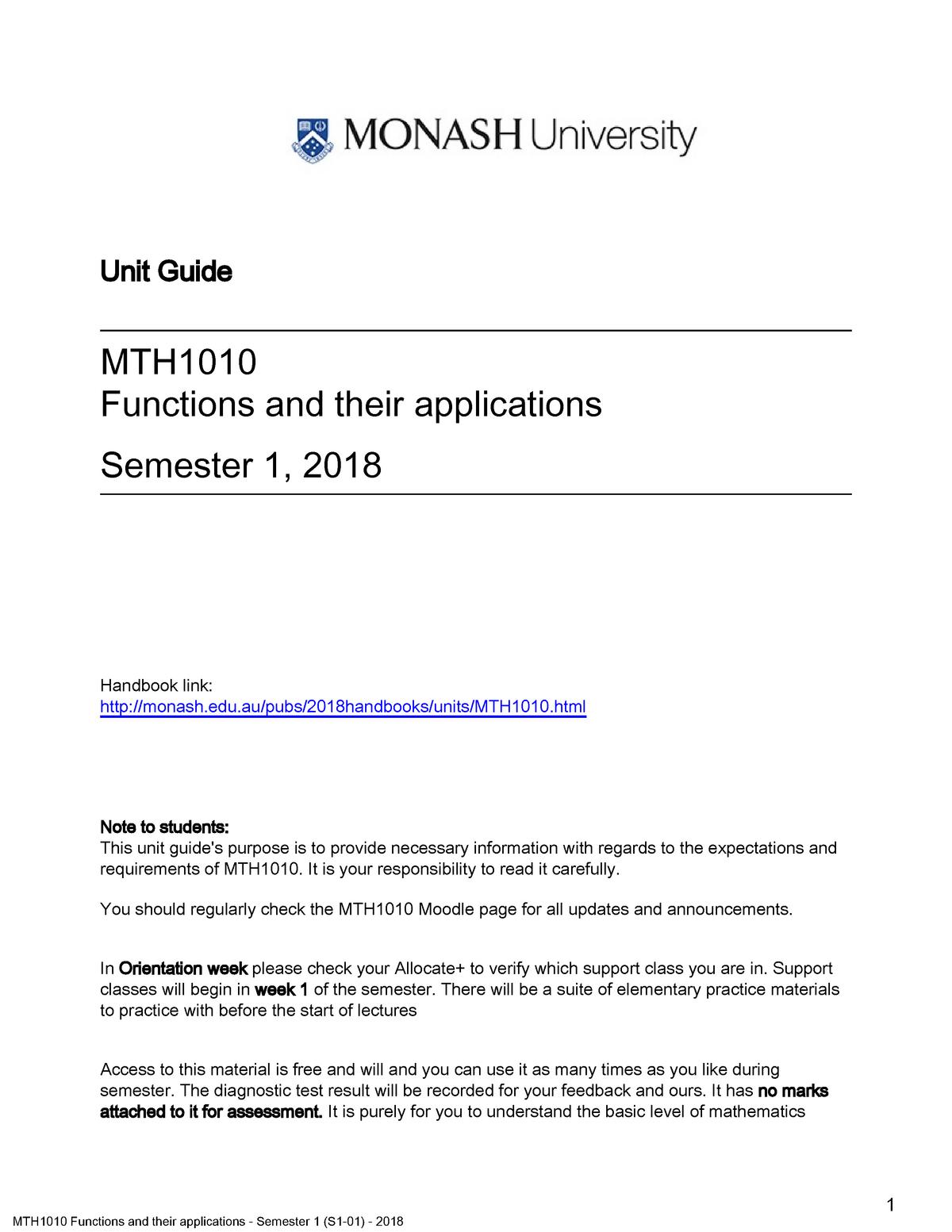 MTH1010 Semester 1(S1-01) 2018 - Monash - StuDocu