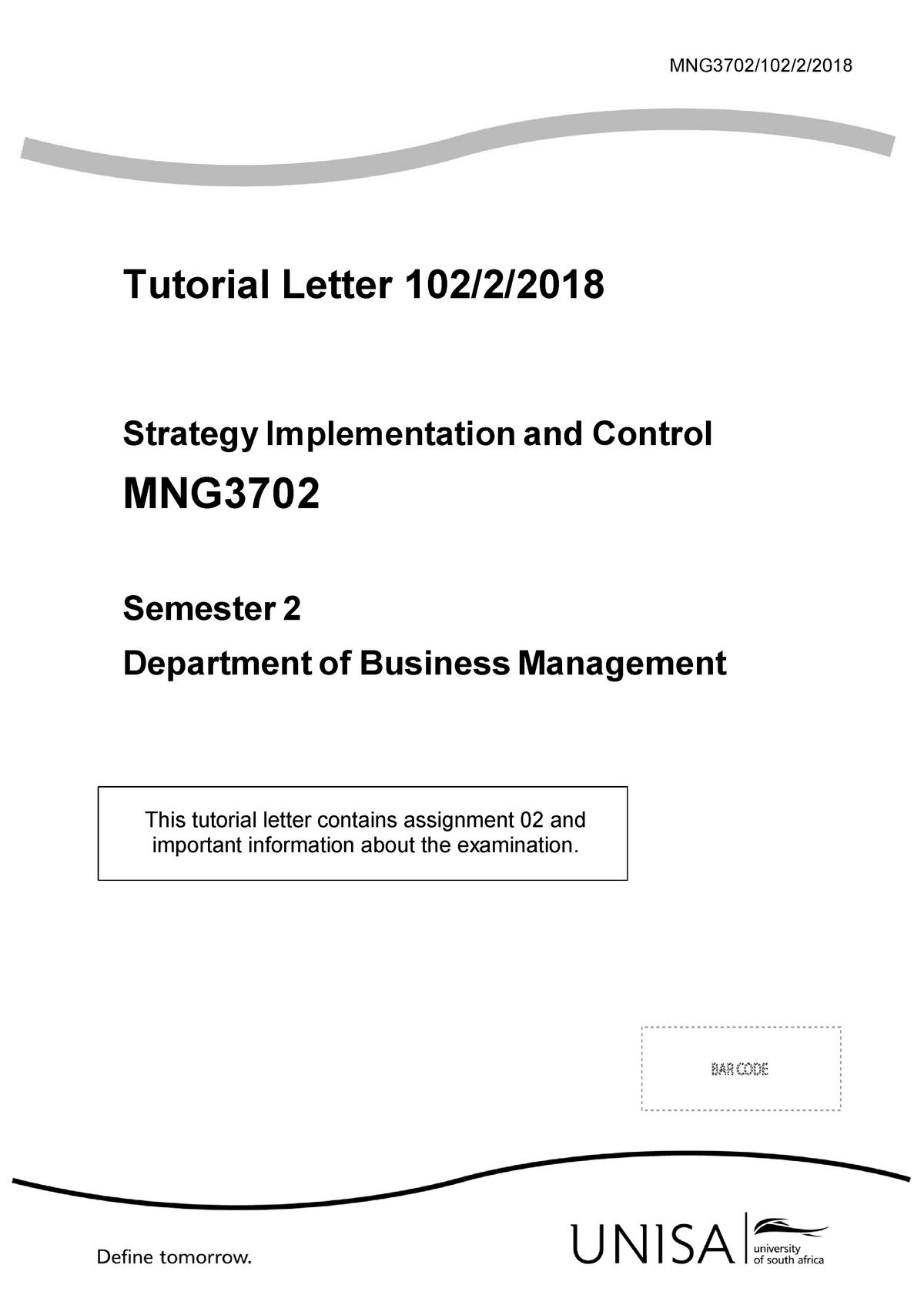 MNG3702 TL 102 2018 Sem+2 - UNISA - StuDocu
