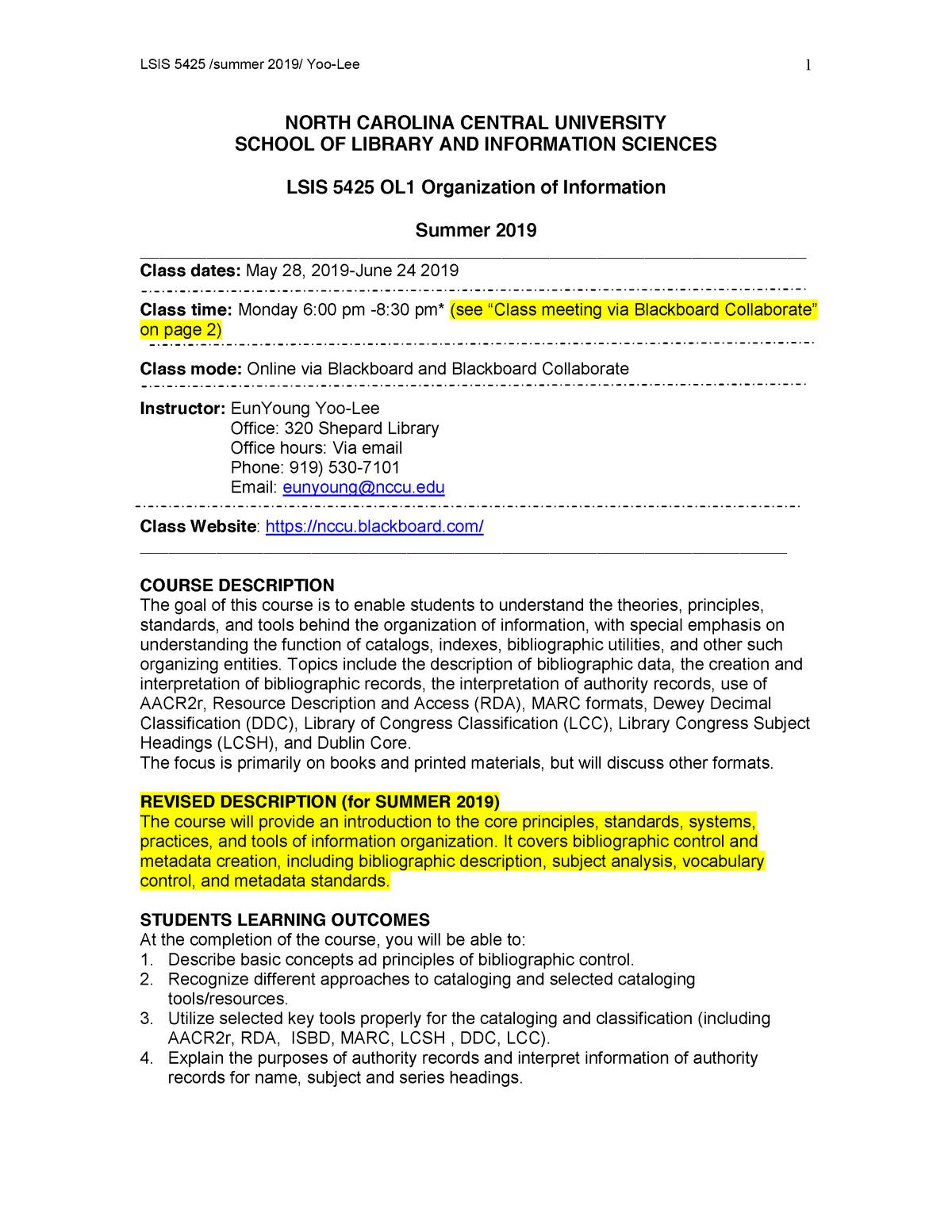 LSIS 5423 Syllabus Organization of Information Summer 2019