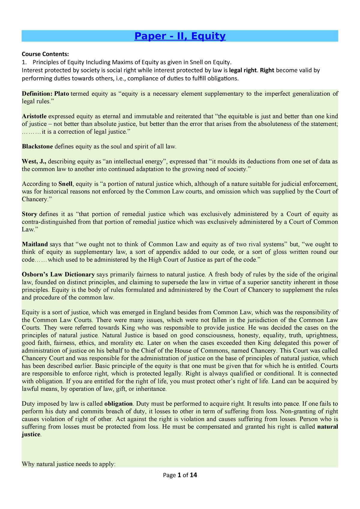 Equity LLB  PART 2 (II) - Lecture notes 1 - Llb 03000 - StuDocu