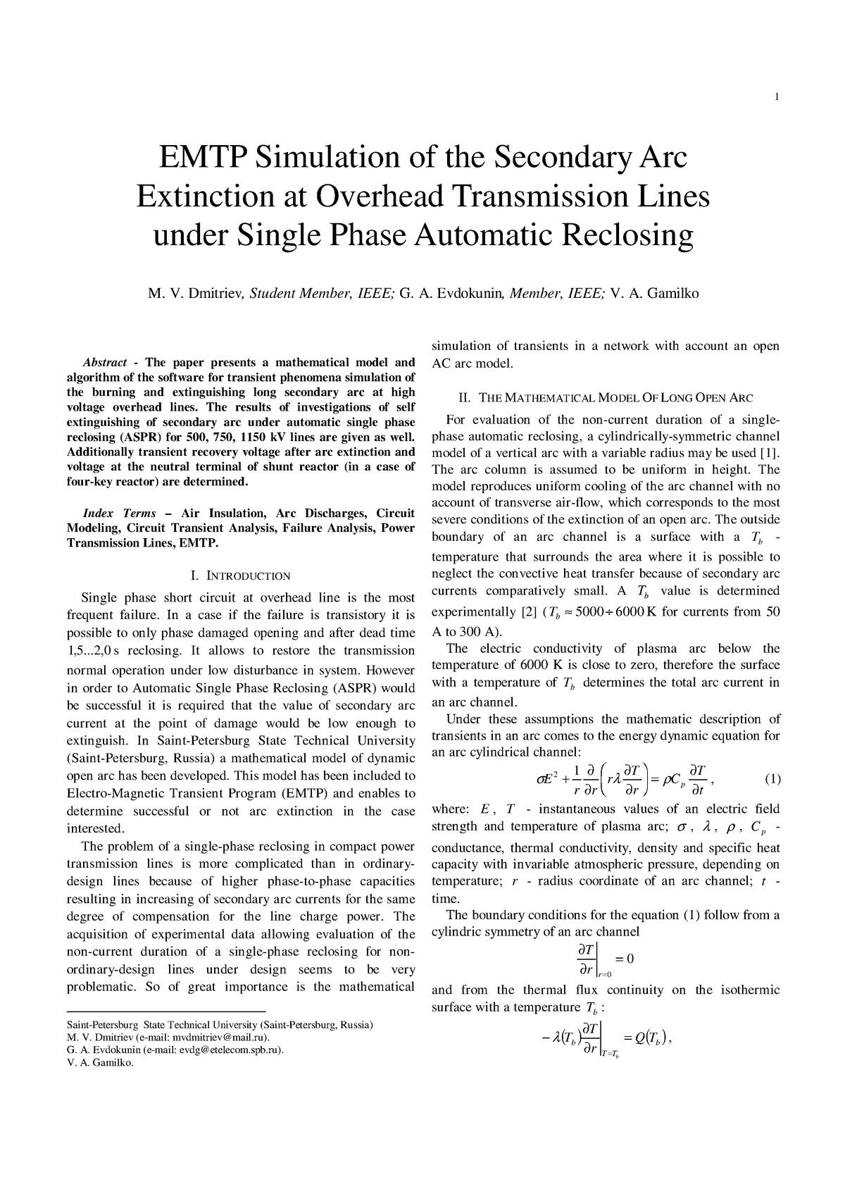 Emtp secondary arc - Cálculo de Máquinas Eléctricas I Transmisión de