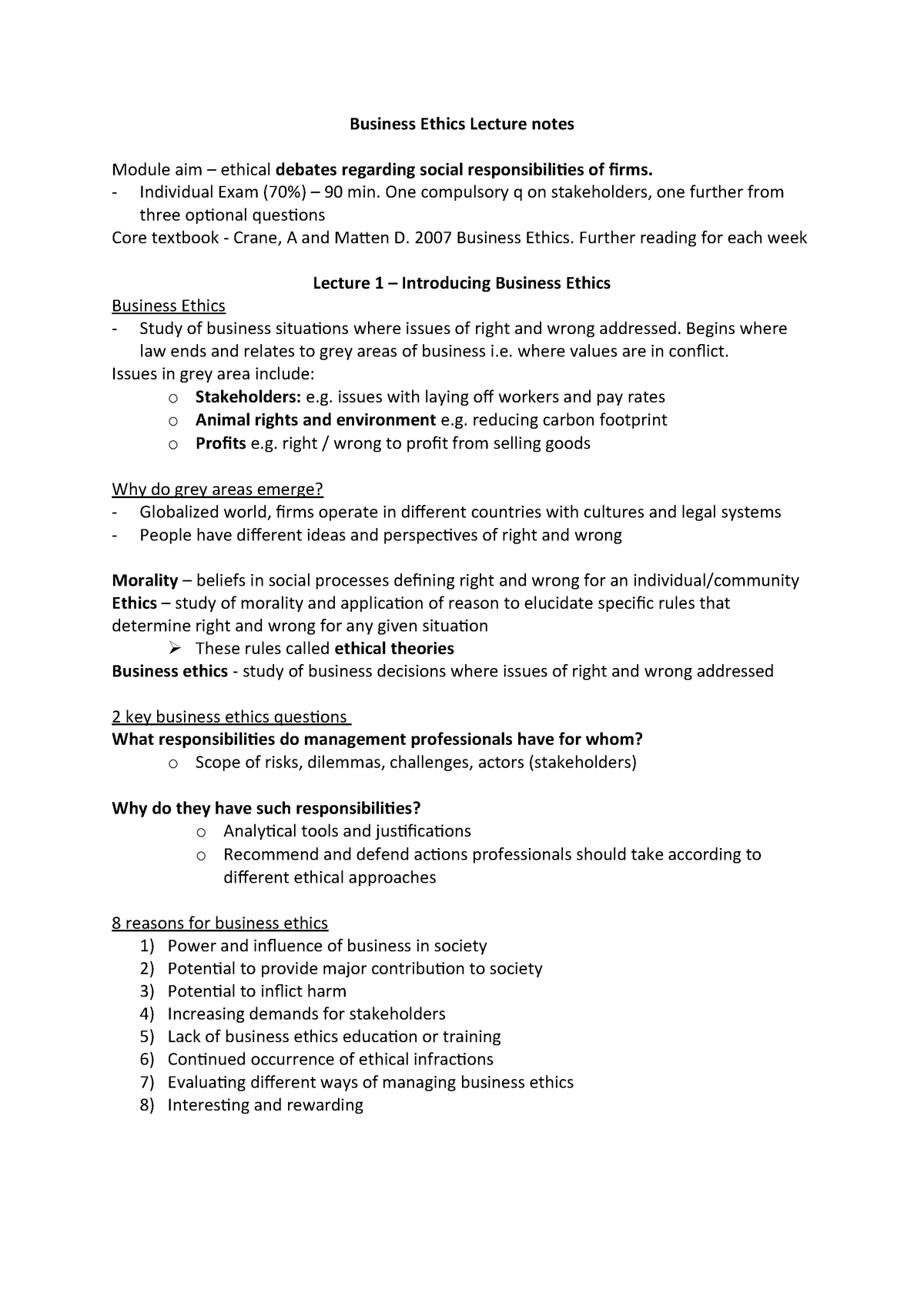 Business Ethics Lecture notes - Business Ethics - StuDocu