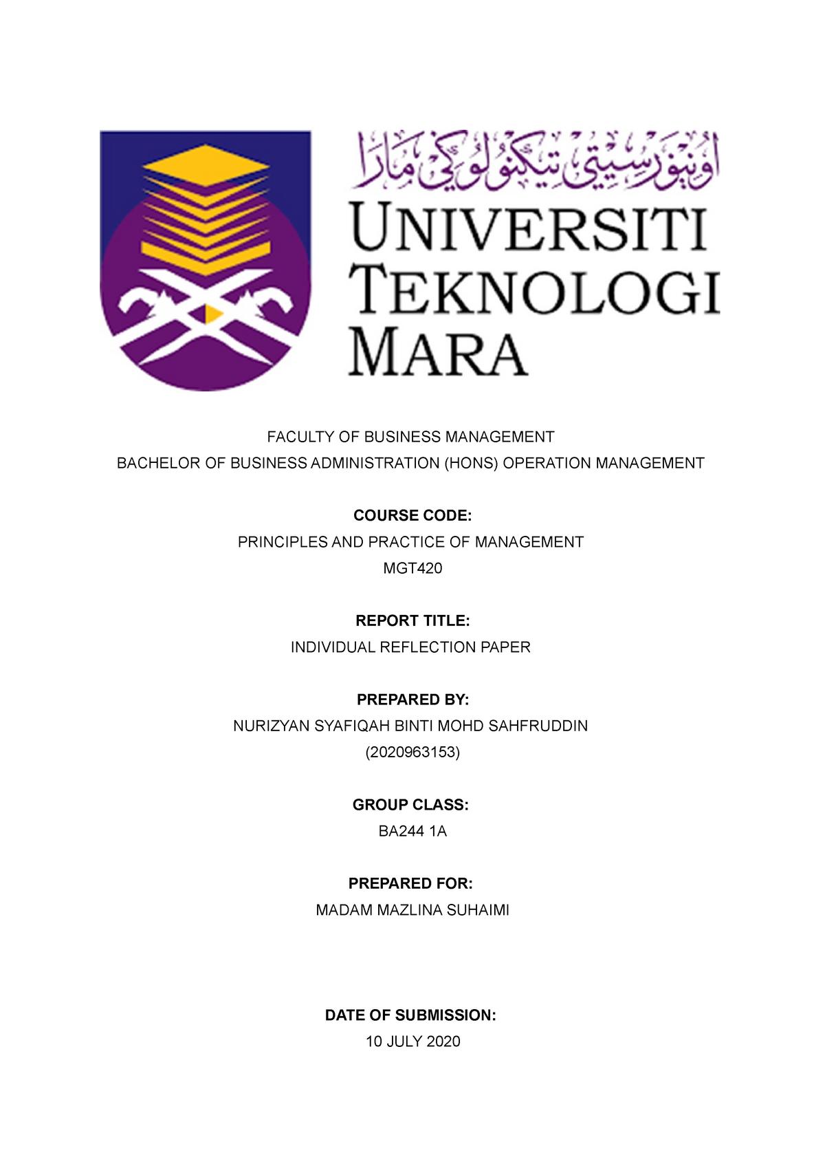 reflective essay on management course