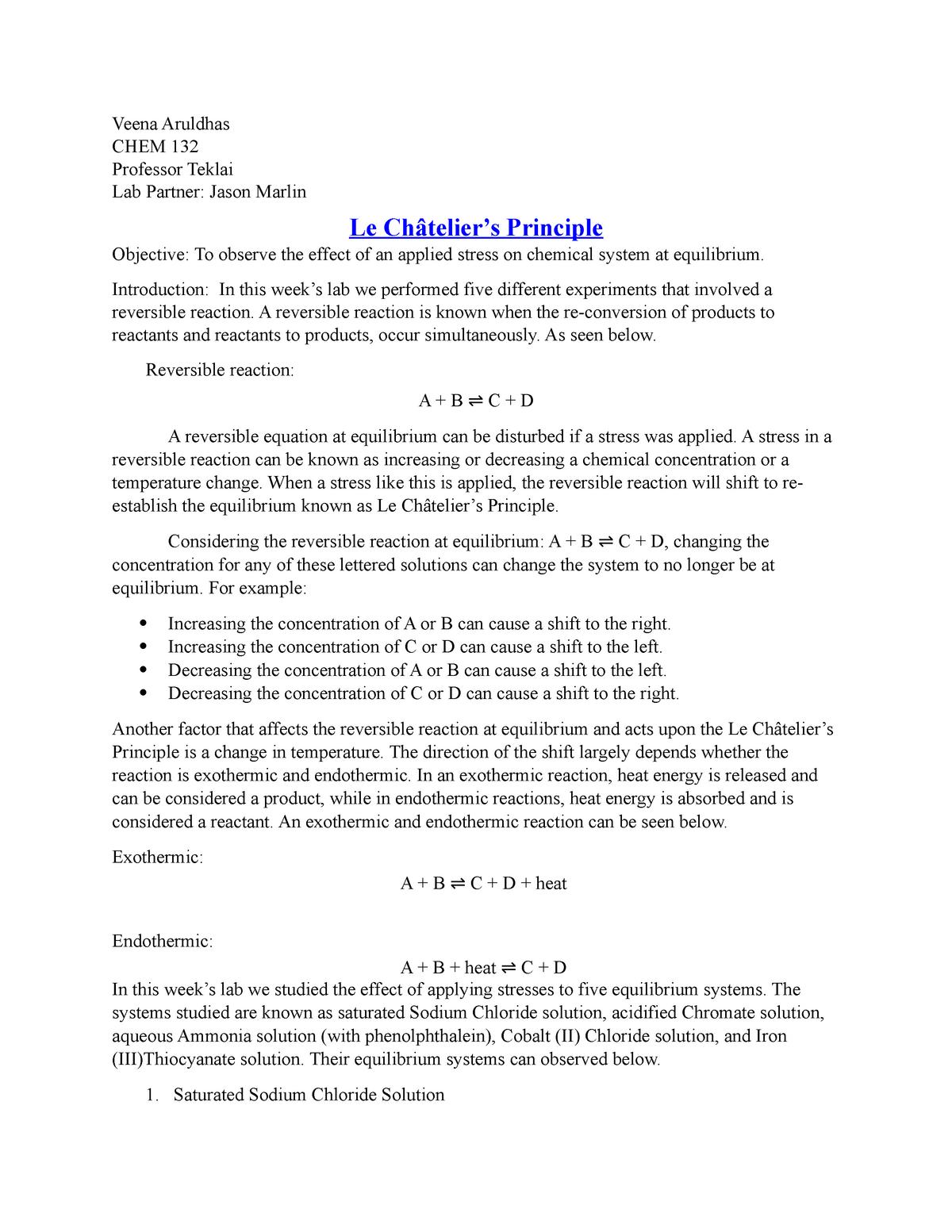 CHEM 132 LAB 5 Le Chatelier's Principle - CH 102: Principles