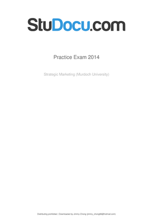 Practice Exam Chapter 1, Questions and answers - MCC385