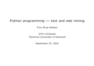Lecture notes, lecture all - 2819: Data mining med Python - StuDocu