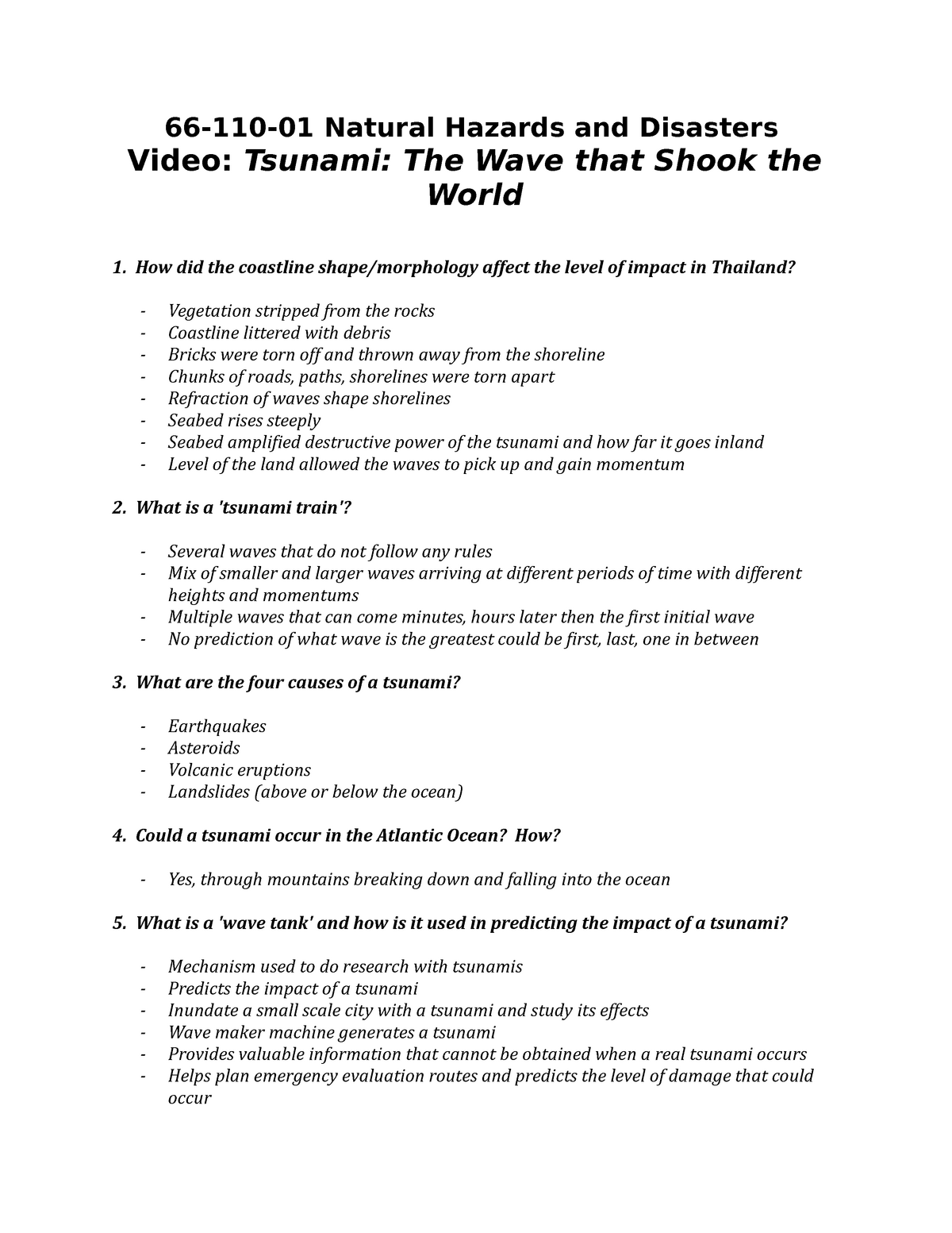 Video Questions - Tsunami - 03 66 110: Natural Hazards and Disasters