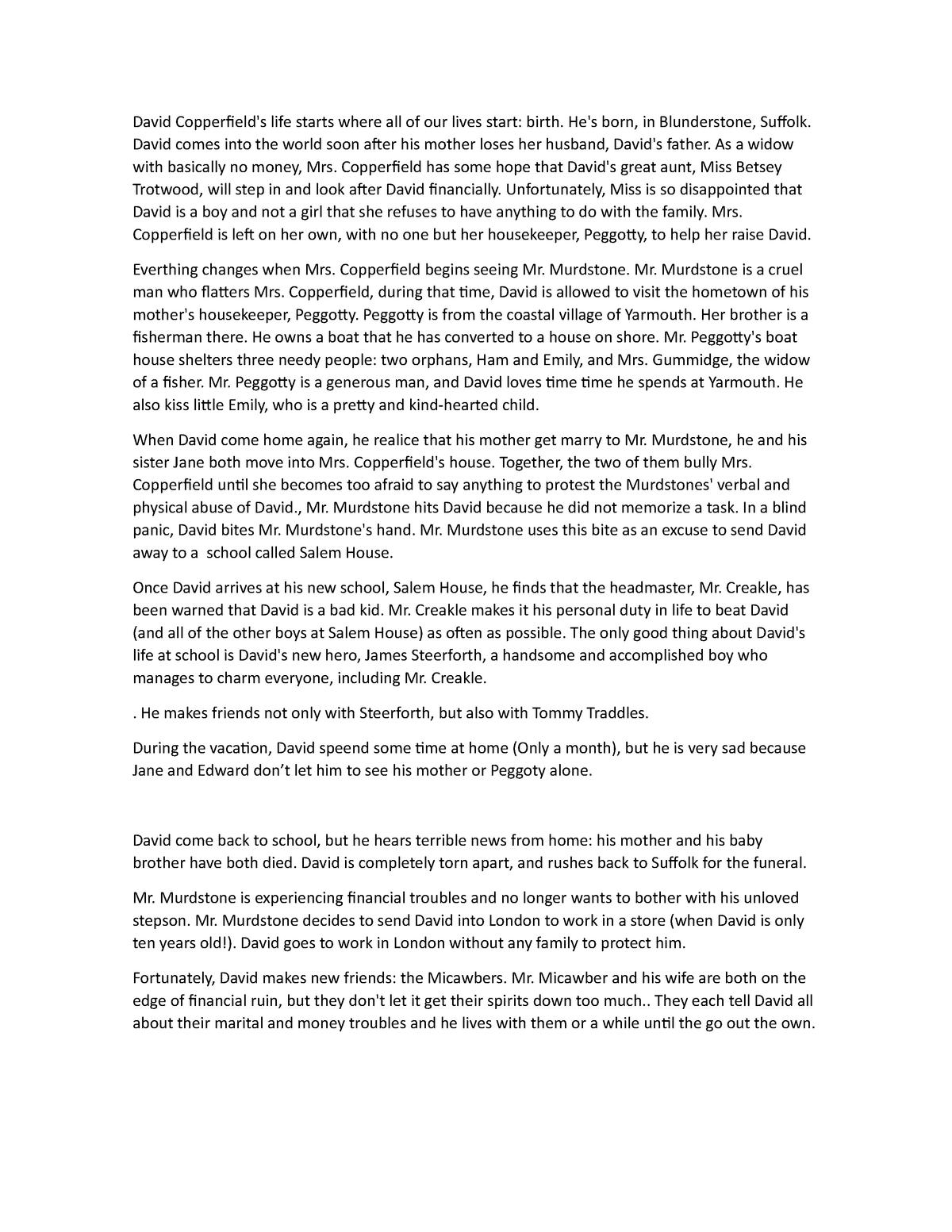 D - Summary David Copperfield - Inglés Intensivo I 2026054